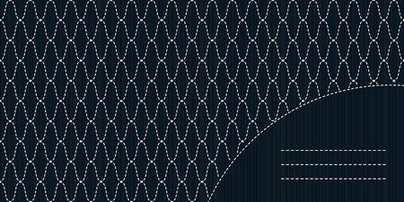 lavoro manuale: Abstract Sashiko con copia spazio per il testo. Giapponese invito opera. Cornice di testo. Astratto cucito giapponese. Trama decorativa.