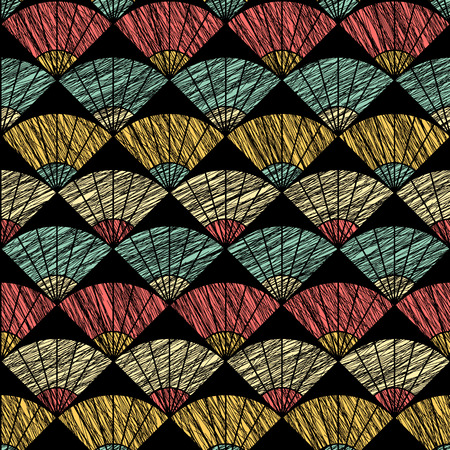 stitching: Scratched fan background. Based on Traditional Japanese Embroidery. Abstract Seamless pattern. Based on Sashiko stitching - uchiwa. Pastel colored backdrop. Illustration