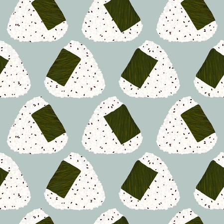 胡麻おにぎり (日本おにぎり)。シームレス パターン。アジアのおやつ。ランチのテクスチャです。胡麻三角おにぎりは、海苔で包まれました。壁紙