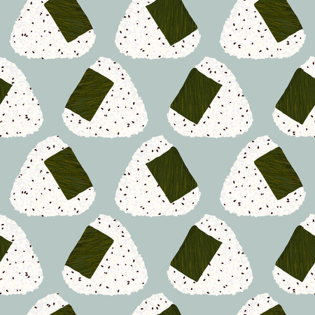 Onigiri (japanese rice ball) with sesame seeds. Seamless pattern. Asian snack. Lunch texture. Triangle rice balls with sesame seeds wrapped with nori seaweed. For wallpaper, pattern fills.