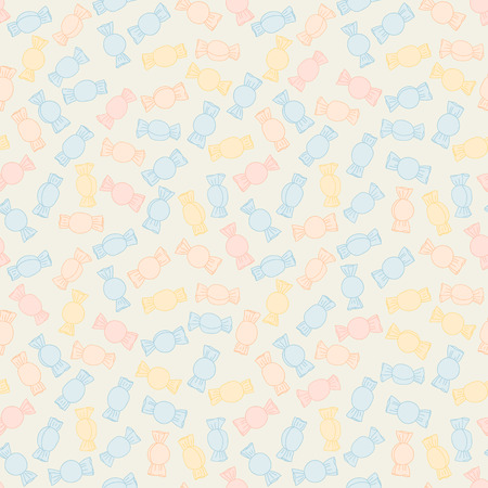 twisted: Colorful twisted candies. Seamless pattern. Sweet food background. Set of colorful twisted candies. Endless ornament. Pastel colored pattern for decoration or background. Illustration