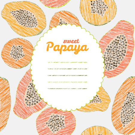 fleshy: Text frame. Autumn harvest background. Repeating backdrop with scratched papaya. Endless fruit texture. Dessert texture. Colorful pawpaw template. Can be used as seamless pattern. Illustration