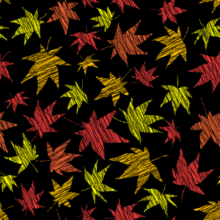 momiji: Seamless pattern with scratched maple leaves. Vivid colors. Autumn template. Plain endless background with momiji leaves. For wallpaper or printing on fabric. Black background.