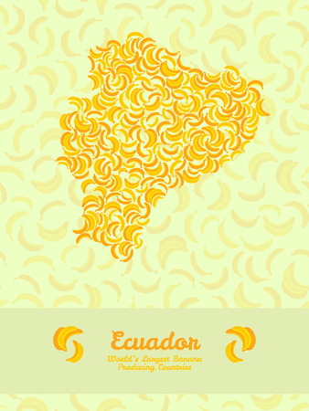 largest: Map of Equador made out of yellow bananas. Illustration. Vegetarian postcard. Equador map poster or card. Series: Worlds Largest Banana Producing Countries. Can be used as seamless pattern.