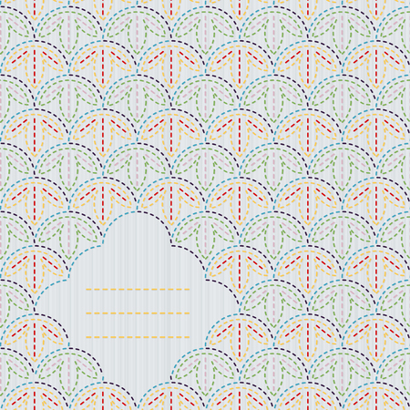 quilting: Abstract sashiko background with copy space for text. Japanese quilting postcard. Text frame. Traditional japanese embroidery. Abstract backdrop. Can be used as seamless pattern.