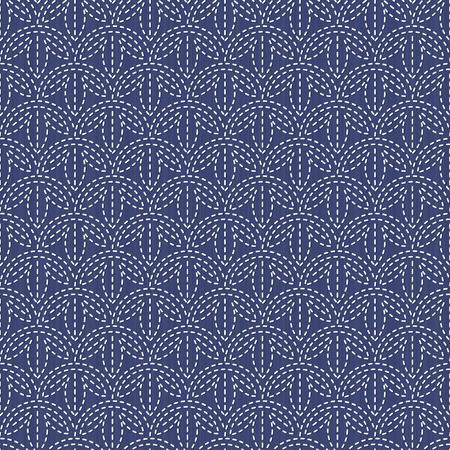 アンティーク日本手芸品。刺し子。シームレス パターン。抽象的な背景。幾何学的な背景。針仕事のテクスチャです。パターンで埋めます。装飾ま