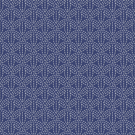 Antique japanese fancywork. Sashiko. Seamless pattern. Abstract backdrop. Geometric background. Needlework texture. Pattern fills. For decoration or printing on fabric.