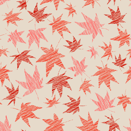 acer: Seamless pattern with scratched maple leaves. Warm colors. Autumn template. Plain endless background with momiji leaves. For wallpaper or printing on fabric.