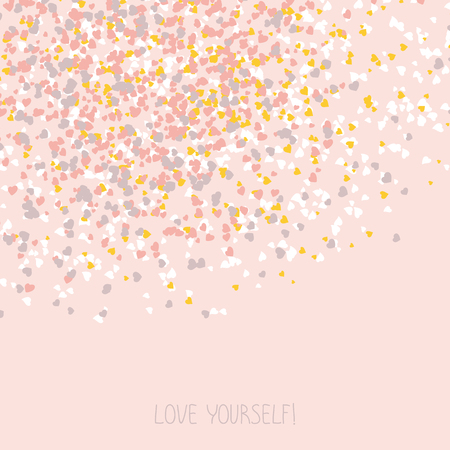 space for text: Love yourself! Selfish flyer. Copy space for text. Egoistic frame with hearts. Plain design for invitation, poster or postcard. Valentines Day Card.