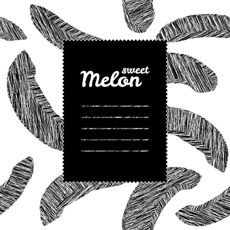 cool colors: Text frame with melon background. Monochrome. Repeating backdrop with scratched melon slices. Black and white harvest background. Endless fruit texture. Cool colors. Can be used as seamless pattern. Illustration