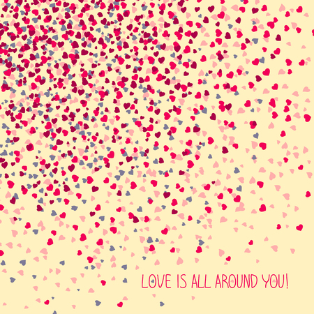 holidays for couples: Love is all around you! Greeting Card. Copy space for text. Simple design for flyer, postcard or poster. Valentines Day Card. Illustration