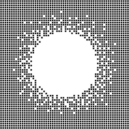 ピクセル コピーのテキストのための領域を持つテンプレートです。シームレス パターン。抽象的な幾何学的な装飾。ピクセル キューブ。シンプル