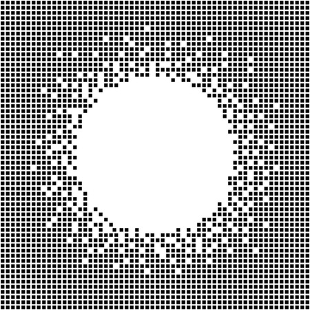 Pixel template with copy space for text. Seamless pattern. Abstract Geometric ornament. Pixel cubes. Simple design for invitation, postcard or poster. Monochrome.