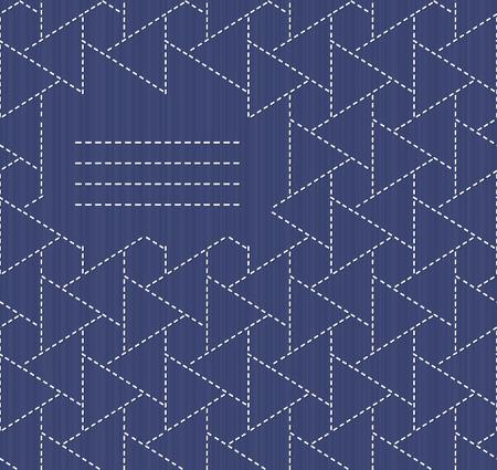 lavoro manuale: Monochrome motivo Sashiko con copia spazio per il testo. Giapponese invito opera. Cornice di testo. Astratto cucito giapponese. Trama decorativa. Pu� essere usato come seamless. Vettoriali
