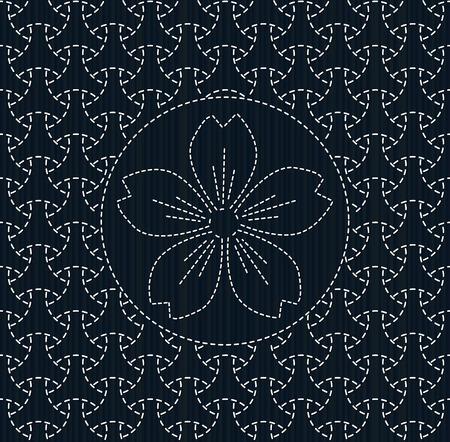 アンティーク日本手芸品。桜の花と刺し子。幾何学的な背景。針仕事のテクスチャです。抽象的な背景。パターンで埋めます。装飾または布で印刷