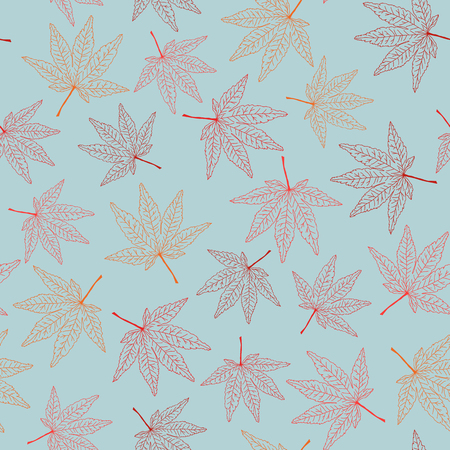 momiji: Seamless pattern with maple leaves. Warm colors. Autumn template. Plain endless background with momiji leaves. For wallpaper or printing on fabric.