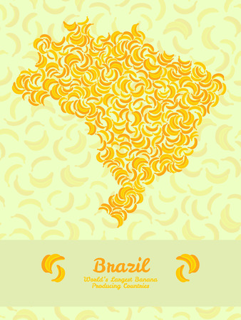 largest: Brazil map poster or card. Vegetarian postcard. Map of Brazil made out of yellow bananas. Fruitarian illustration. Series: Worlds Largest Banana Producing Countries. Can be used as seamless pattern.