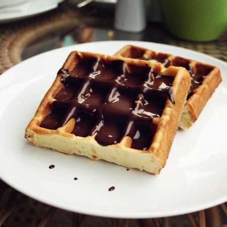 topping: Vienna Waffles with chocolate topping. Stock Photo