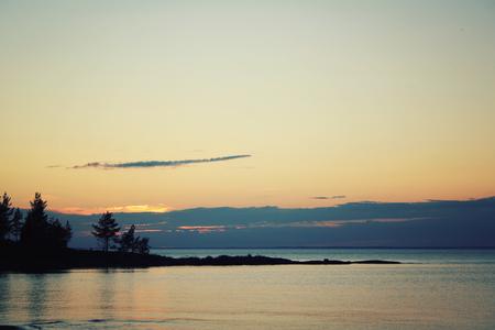 ladoga: Beautiful northern landscape. Ladoga lake at sunset.