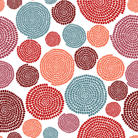 Stylized texture with arcs and circles. Seamless pattern. Warm colors. Hand drawn beads. Round elements. Colorful background for decoration or printing on fabric. Simple backdrop for pattern fills.