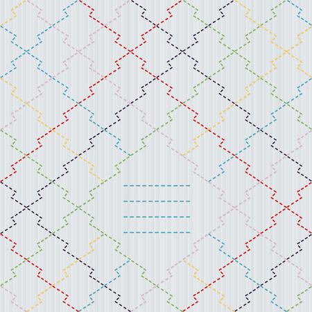 伝統的な日本刺繍の飾りとテキスト ボックス。松皮刺し子モチーフ松川菱。抽象的なベクトルの背景。針仕事のテクスチャです。シームレスなパタ  イラスト・ベクター素材
