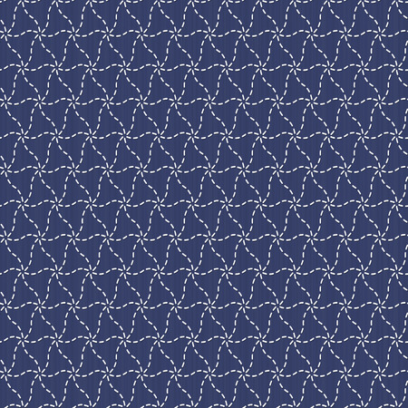 Traditional Japanese Embroidery Ornament. Sashiko motif - monochrome plover chidori. Abstract needlework texture. Seamless vector pattern. For decoration or printing on fabric. Pattern fills.  イラスト・ベクター素材