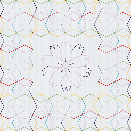 Traditional Japanese Embroidery Ornament with sakura flower. Colorful Sashiko motif - Seven Treasures of Buddha Shippo. Abstract vector backdrop. Needlework texture. Can be used as seamless pattern.