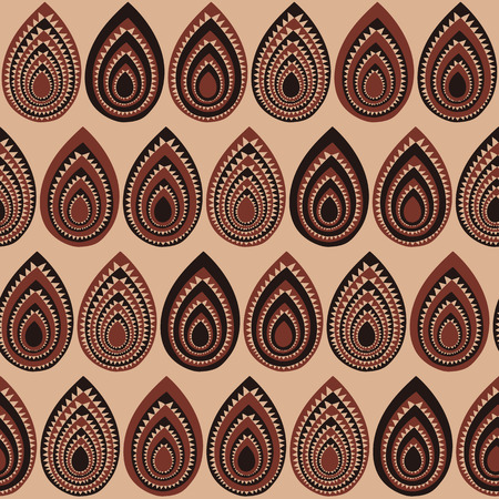 Hand drawn pattern based on a Traditional African Ornament. Stylized texture with triangles and tree leaves. Warm colored background for decoration or backdrop. Illustration