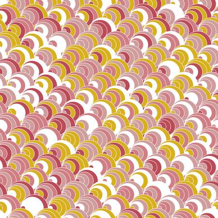 明るいファンの背景。伝統的な日本刺繍に基づいています。抽象的なシームレス パターン。刺し子に基づいています。赤と緑の背景のピンク。装飾
