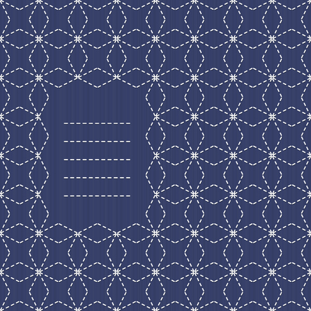 rhomb: Traditional Japanese Embroidery Ornament and text frame. Monochrome Sashiko motif - Seven Treasures of Buddha Shippo. Abstract vector backdrop. Needlework texture. Can be used as seamless pattern.