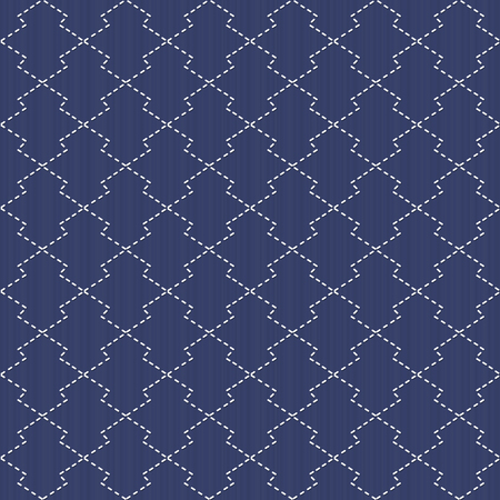 embroidery on fabric: Traditional Japanese Embroidery. Sashiko motif - pine bark Matsukawa-Bishi. Abstract backdrop. Needlework texture. Seamless vector pattern. For decoration or printing on fabric. Pattern fills.