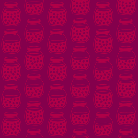tinned: Deep seamless pattern with the cherry jam jars. Plain shadeless background with cherries for decoration or background. Illustration