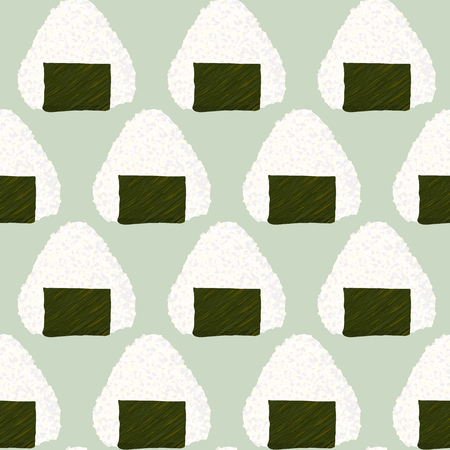 Onigiri japanese rice ball background. Seamless pattern. Asian snack. Lunch texture. Triangle rice balls wrapped with nori seaweed. For wallpaper, pattern fills.