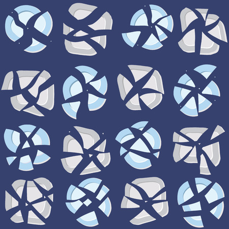 contention: Seamless Pattern with Broken Grey and Blue Plates on a Dark Blue background. Endless texture, plain background. Quarrel backdrop. Illustration