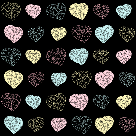 unstable: Seamless Valentines Day background. Heart symbols made of triangles. Geometric holiday template. Low-poly polygonal hearts. Abstract texture. Black background. For wallpaper or web page backdrop.