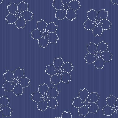 桜の花が咲くと伝統的な日本刺繍飾り。シームレス パターン。刺し子のモチーフ - 桜の花が咲きます。花の背景。針仕事のテクスチャです。