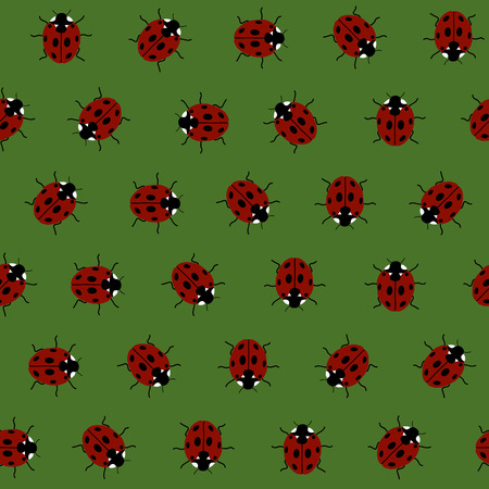 packing material: Endless pattern with Ladybugs, kid background. Endless texture, insects background. Simple backdrop. Seamless vector. Plain backdrop for decoration, wallpaper, web page background, surface textures. Pattern fills. Illustration