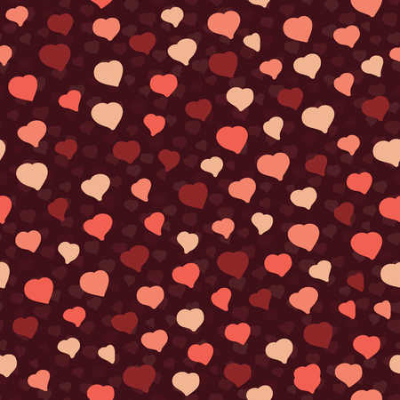 fine print: Lovely hand-drawn hearts background in warm colors. For decoration or wrapping. Illustration