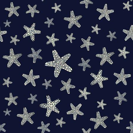 stella marina: sfondo Starfish. La vita subacquea. Seamless pattern. Set di stelle marine di colore grigio. ornamento senza fine.