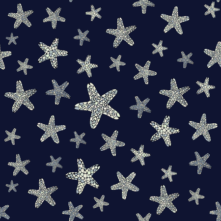 starfish: Starfish background. Underwater life. Seamless pattern. Set of grey colored starfishes. Endless ornament.