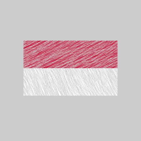 scratched: Indonesia Flag. Scratched texture. Transparent background. Illustration