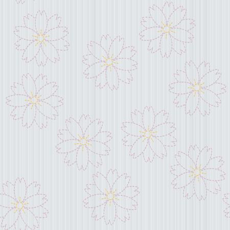 古い日本のキルティング。刺し子桜の花。針仕事のテクスチャです。春の背景。花の背景。装飾または布で印刷。シームレス パターン。桜の花。