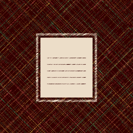 for text: Card template. Copy space for text. Diagonal grunge texture. Pattern fills. Abstract random lines. Checkered.