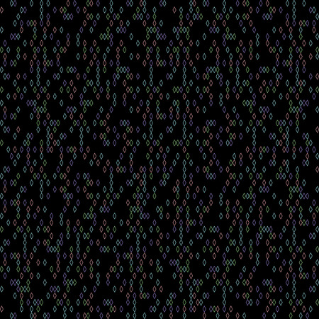 Graphic rhomb pattern. Scattering of tiny beads. Black background.