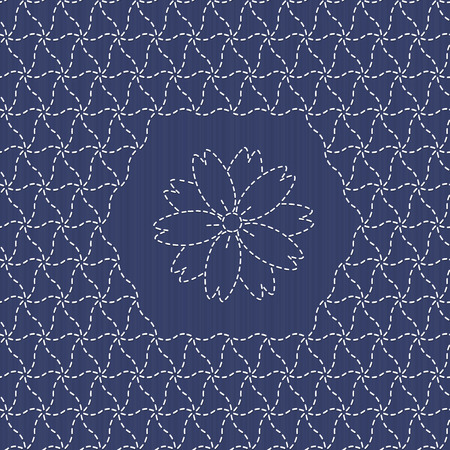 embroidery flower: Traditional Japanese Embroidery Ornament with sakura flower.