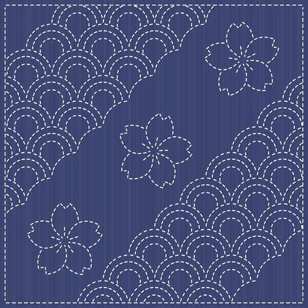 刺し子のモチーフ - 桜の花が咲きます。桜の花が咲くと伝統的な日本刺繍飾り。シームレス パターン。花の背景。針仕事のテクスチャです。シーム
