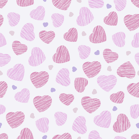 endless: Seamless pattern with pink hearts, Valentine Day background. Abstract heart texture, endless Valentine Day background. Endless ornament. Pastel colored backdrop. Holiday template. White background.