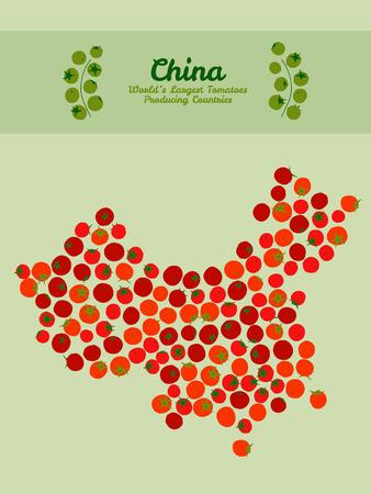 Illustratie. Kaart van China gemaakt van rode tomaten. Vegetarische briefkaart. China kaart poster of kaart. Serie: 's werelds grootste tomaten producerende landen. Rode tomaat achtergrond.