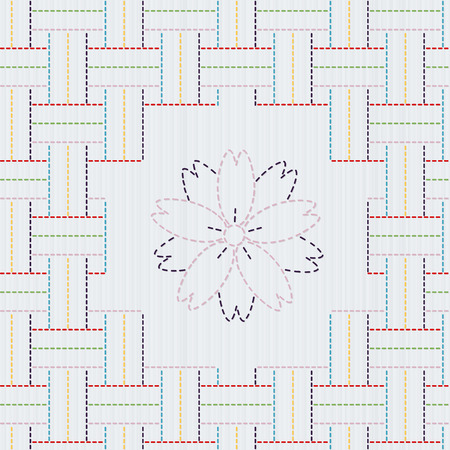 weaving: Traditional Japanese Embroidery Ornament with sakura flower. Colorful Sashiko motif - weaving. Abstract vector backdrop. Needlework texture. Can be used as seamless pattern.