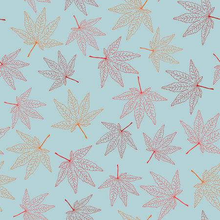 Seamless pattern with maple leaves. Warm colors. Autumn template. Plain endless background with momiji leaves. For wallpaper or printing on fabric.